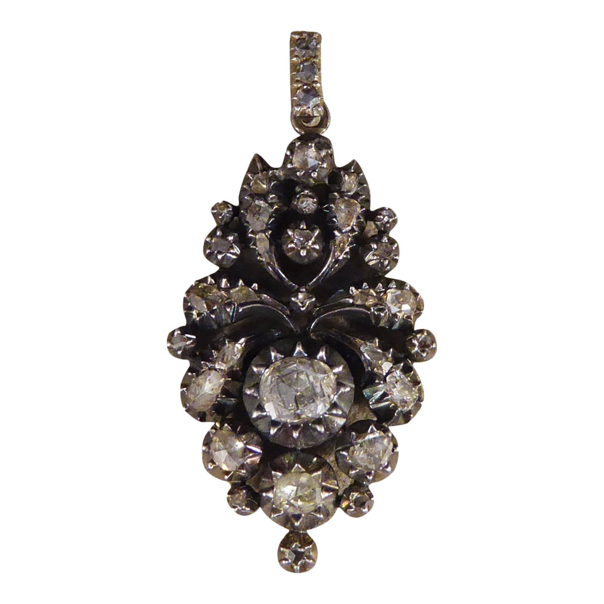Georgian Rose Cut Diamond Closed Back Pendant in Gold and Silver