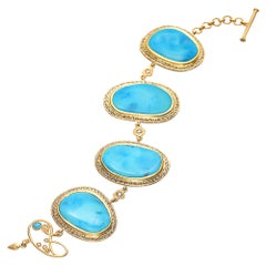 93.65 Carat Turquoise Nuggets Bracelet with Rose-Cut Diamonds