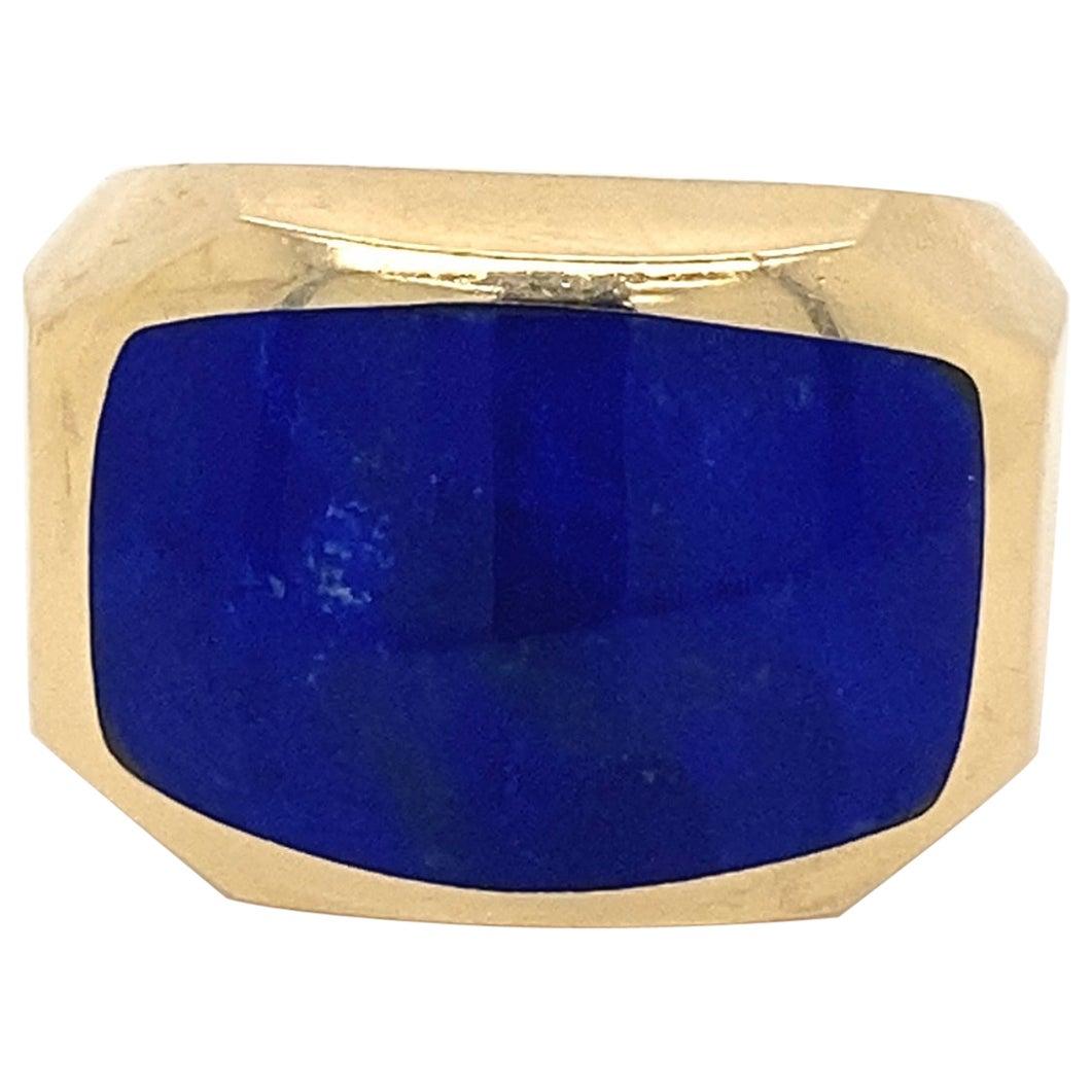 Lapis Lazuli Gold Men's Ring Estate Fine Jewelry