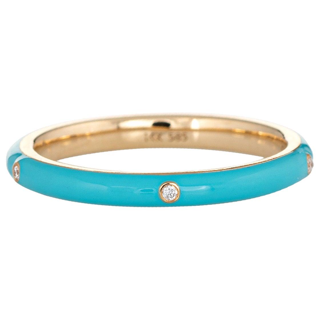 Turquoise Enamel Diamond Ring 14 Karat Yellow Gold Stacking Band Jewelry
