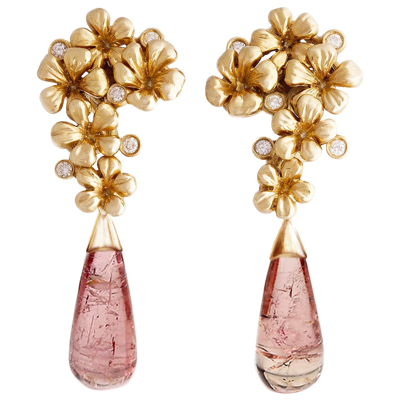 18 Karat Yellow Gold Cocktail Clip-On Earrings with Diamonds and Tourmalines
