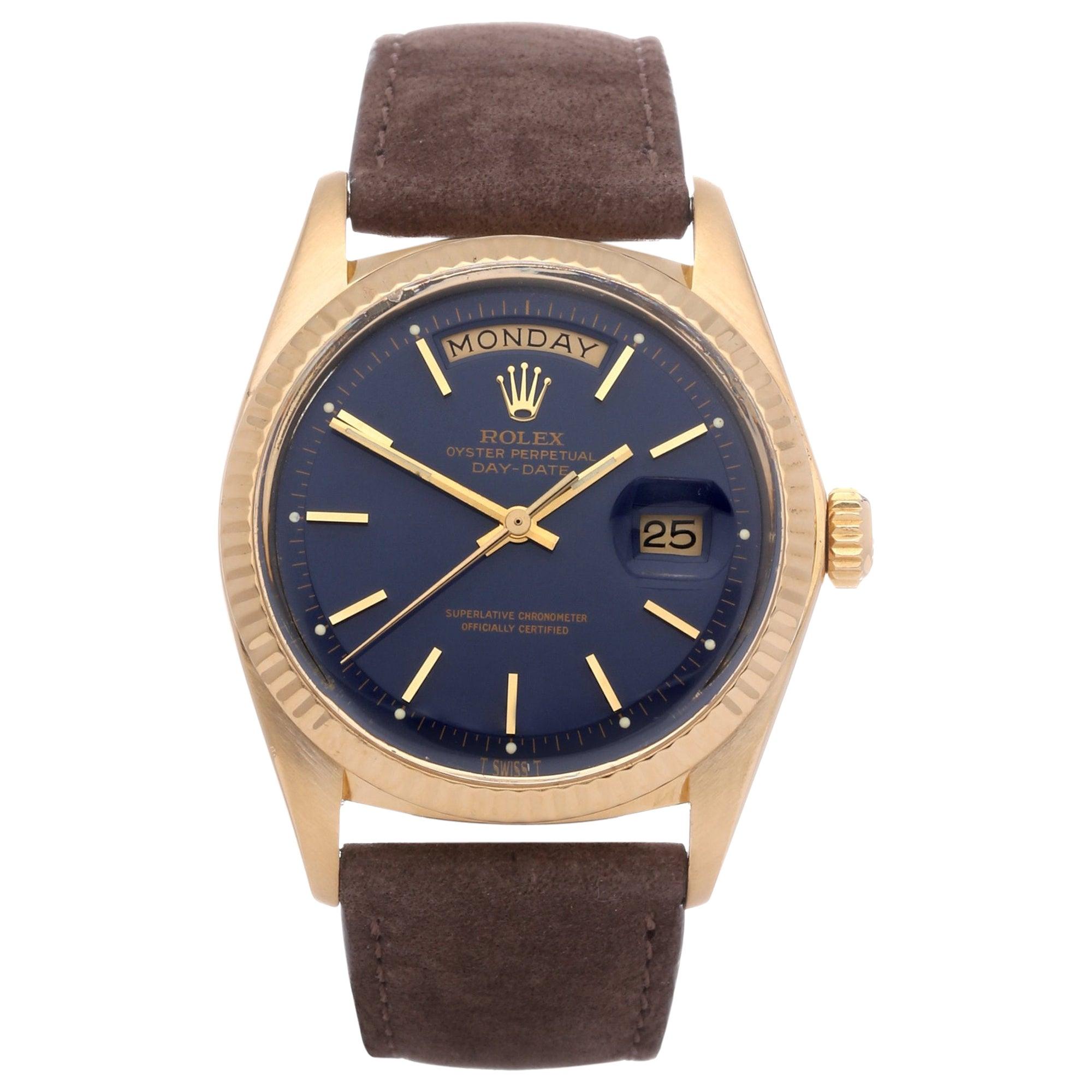 Rolex Day-Date 36 1803 Unisex Yellow Gold Pie Pan Gloss Blue Watch