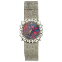 White Gold Piaget Watch with Rare Opal Dial and Unique Diamond Bezel