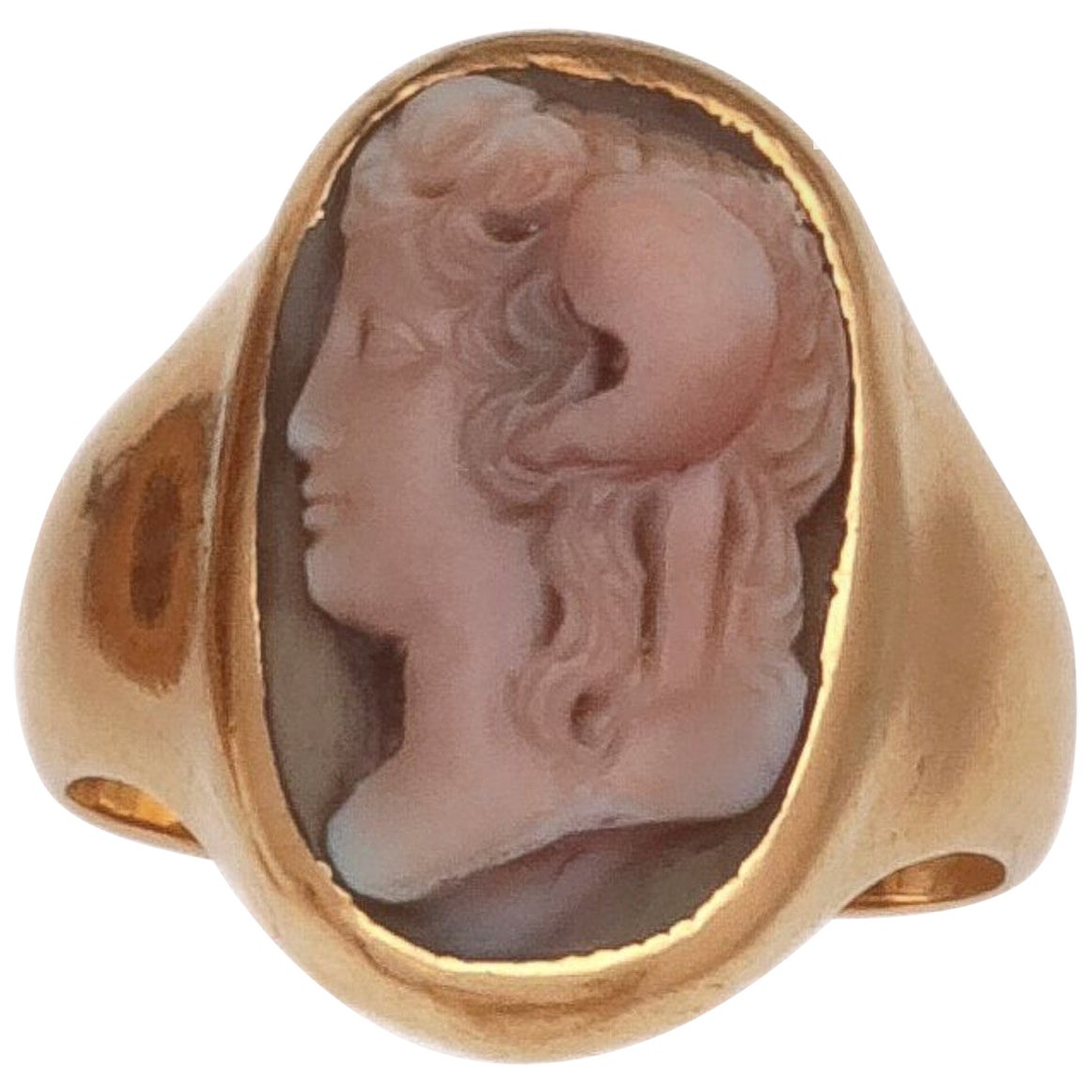 Yellow Gold Cameo Agate Ring