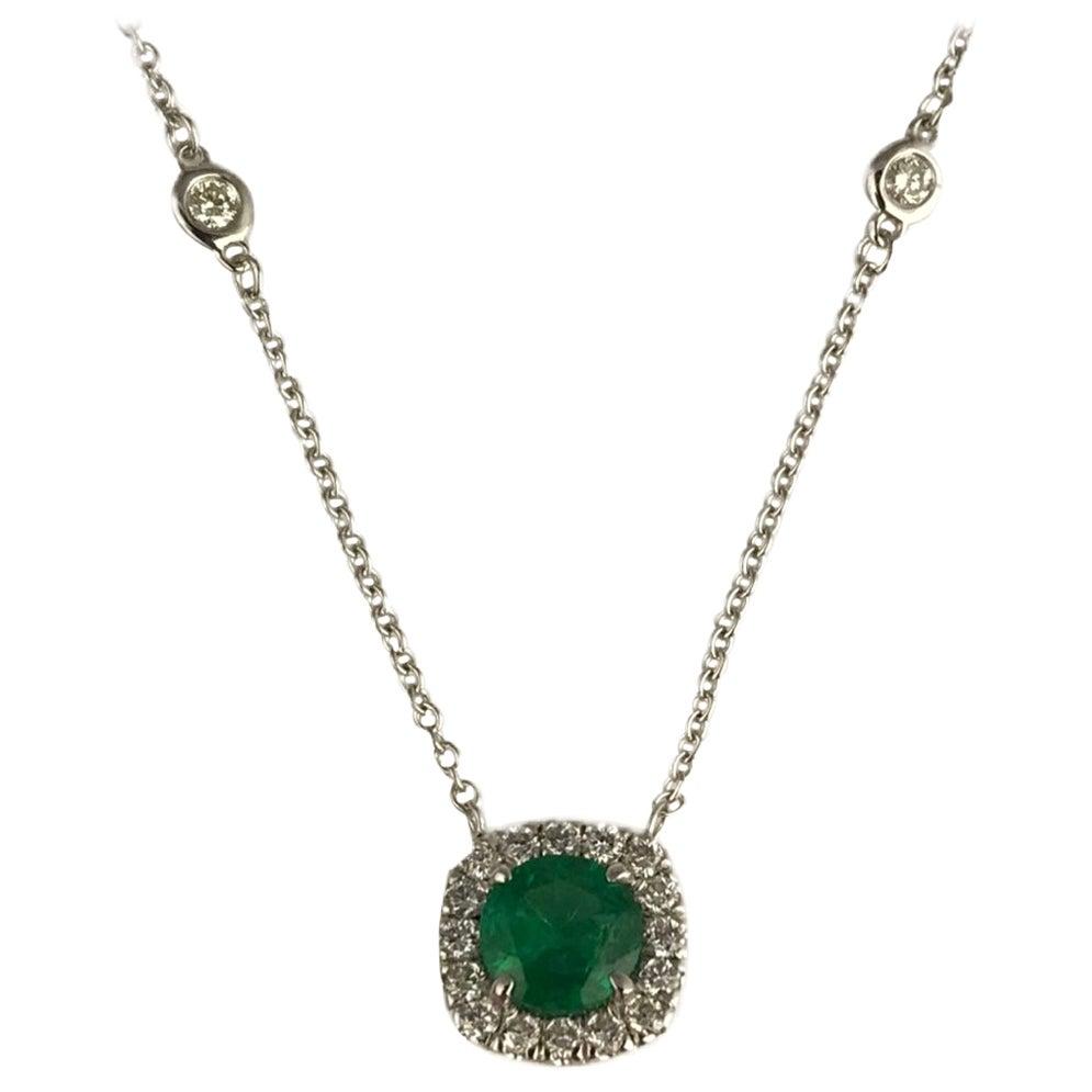 DiamondTown 0.87 Carat Round Cut Emerald Pendant in Diamond Halo