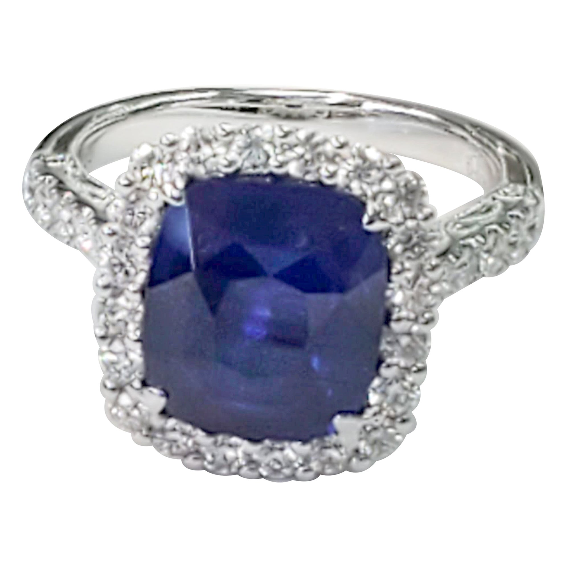 GIA Certified Blue Sapphire Cushion with White Diamond Ring