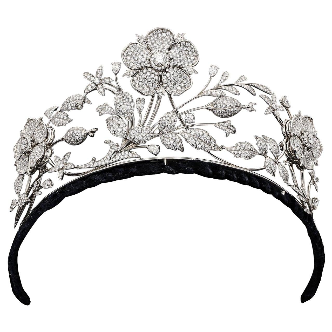 Large Edwardian Style Diamond En Tremblant  Floral Tiara by E Wolfe London
