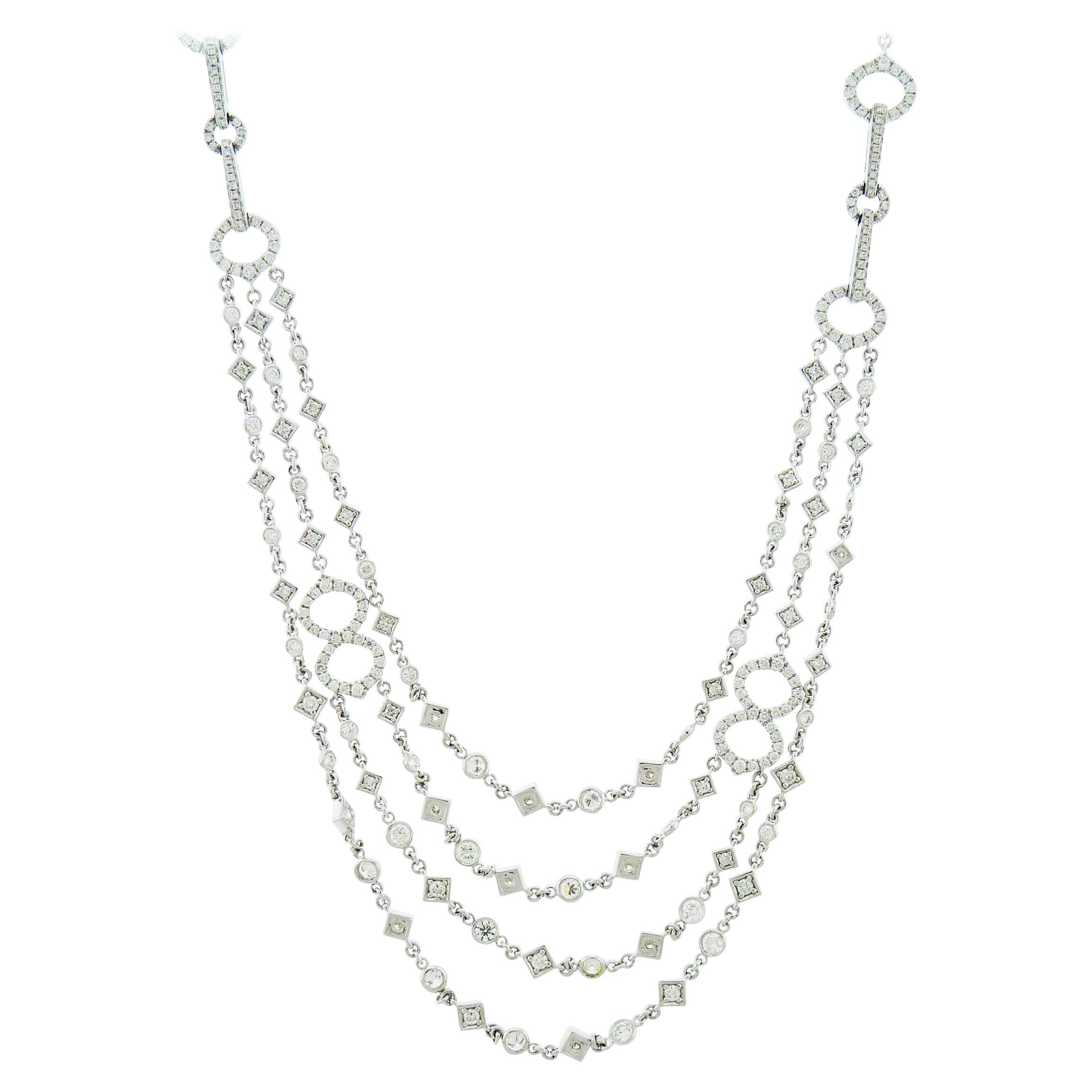Diamond Multi-Strand Gold Necklace