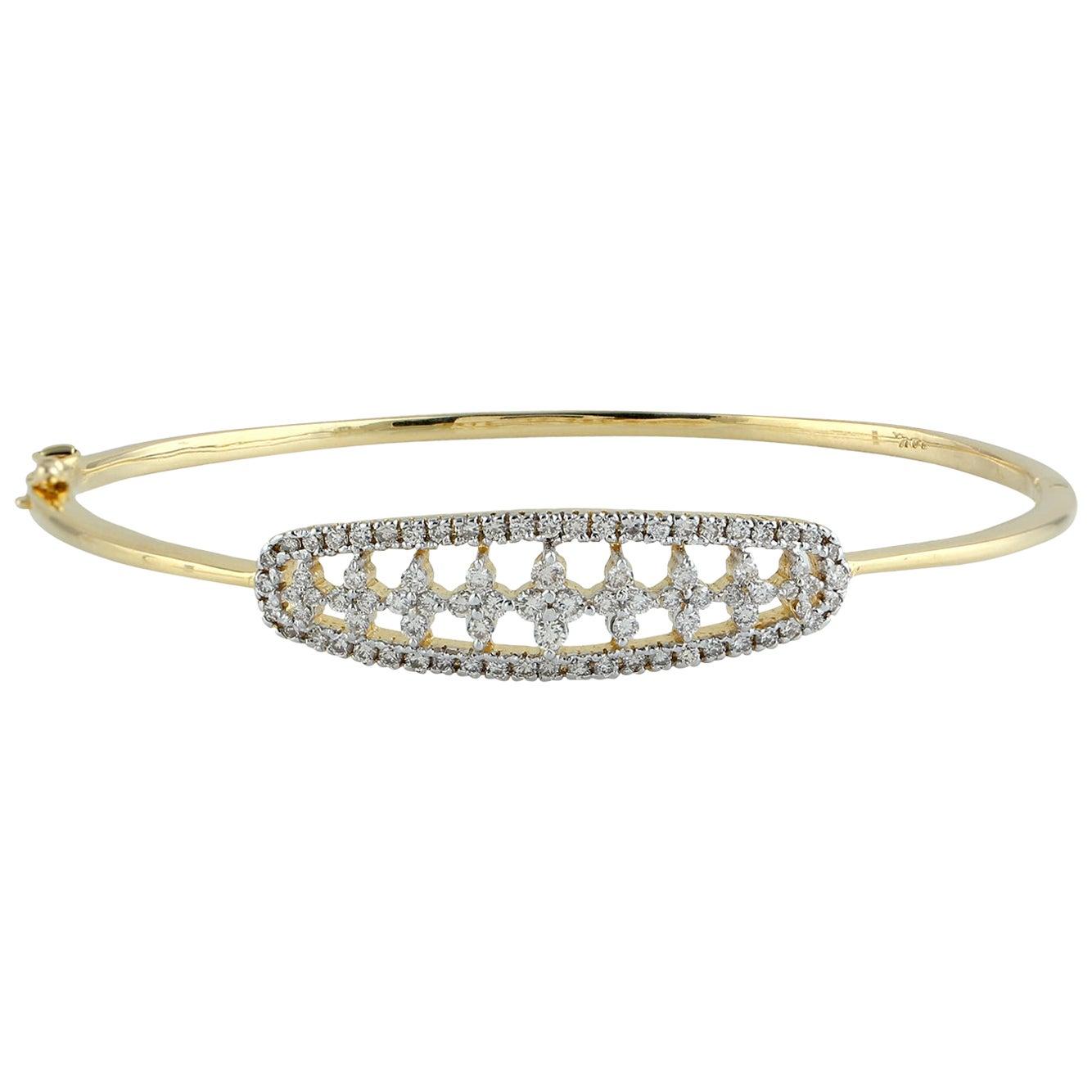 Diamond 18 Karat Yellow Gold Bangle
