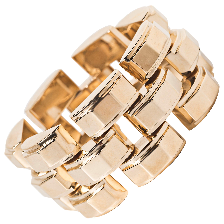 Tiffany & Co. 14 Karat Yellow Gold Retro Tank Bracelet