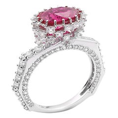 3.04-Carat Faceted Ruby with Rose-Cut Diamonds White Gold Ring