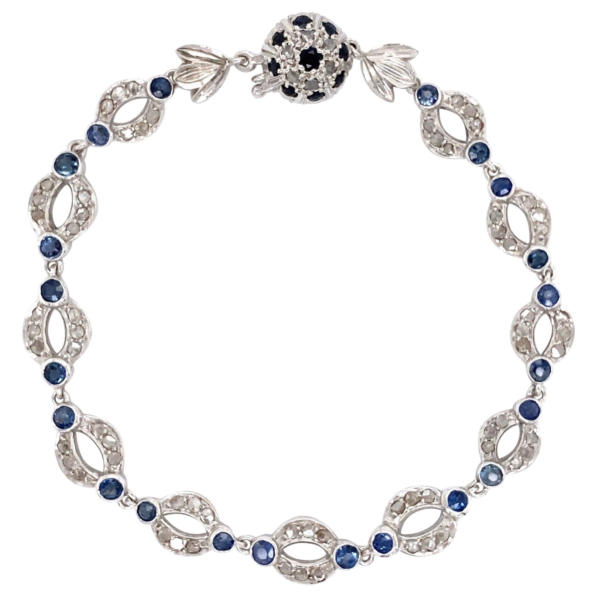 Diamond and Sapphire Open Link Platinum Bracelet Estate Fine Jewelry