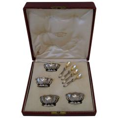 Puiforcat French Sterling Silver Set 4 Salt Cellars original Spoons and Box Iris