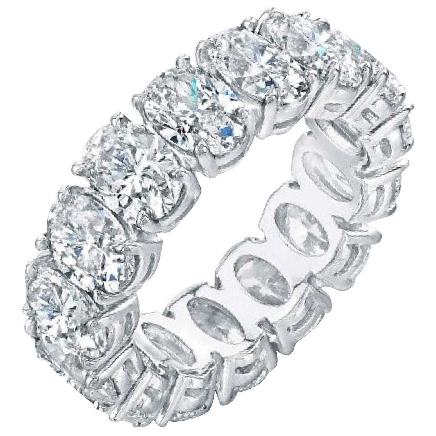 Hand Made Oval Diamond Eternity Anniversary Band Ring At