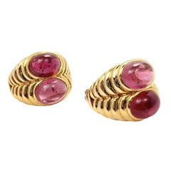 Bulgari Yellow Gold Pink Tourmaline Sapphire Twin Earrings