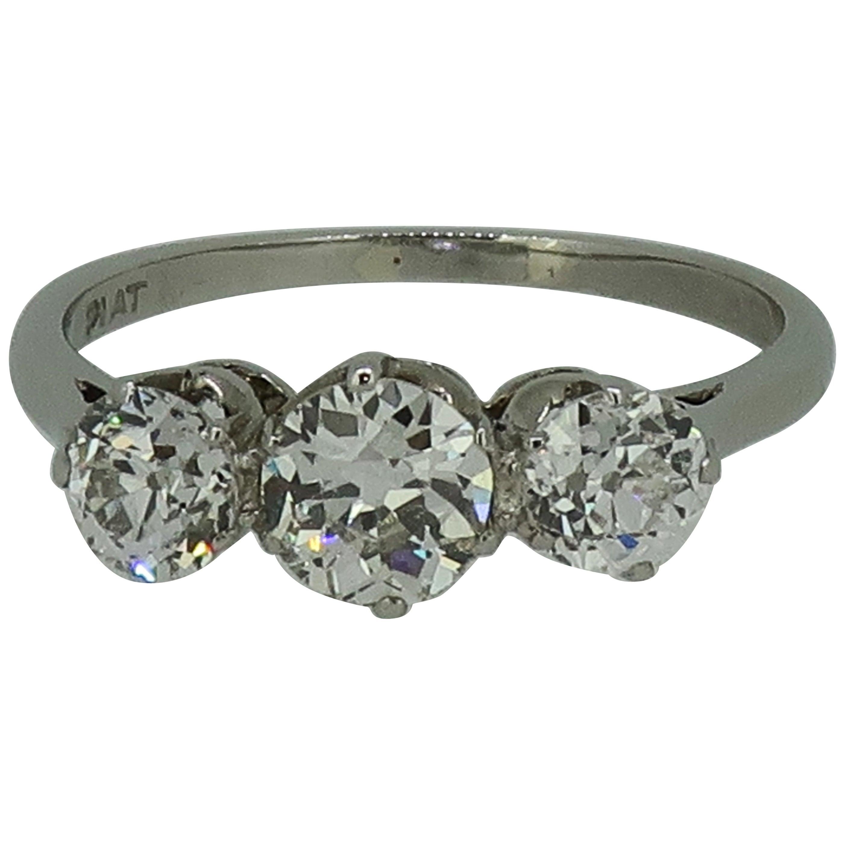 Old European Cut Diamond Three-Stone Ring Platinum 1.25 Carat