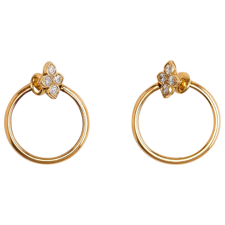 Cartier Yellow Gold Flower Diamond Hoop Earrings