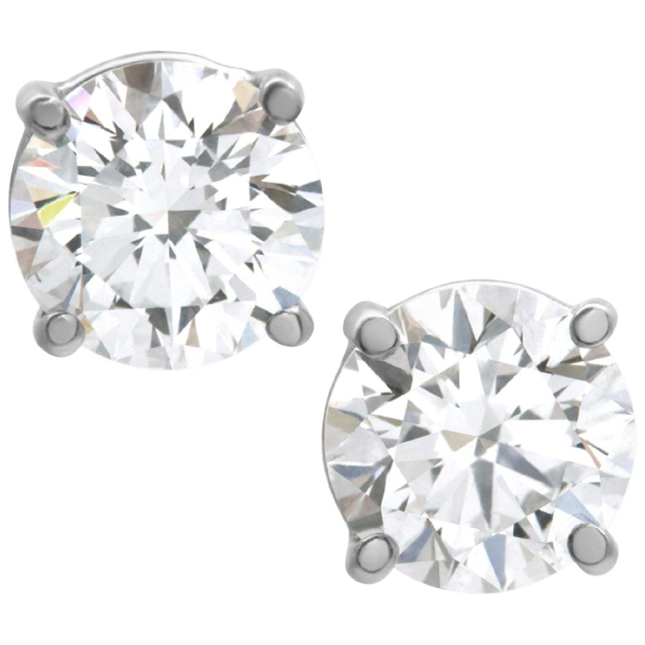 Internally Flawless D Color GIA Certified 3.12 Carat Diamond Studs