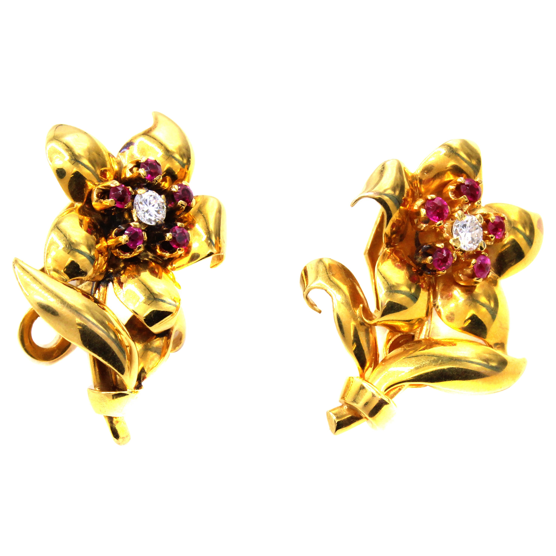 Retro Diamond Ruby Flower Ear Clips