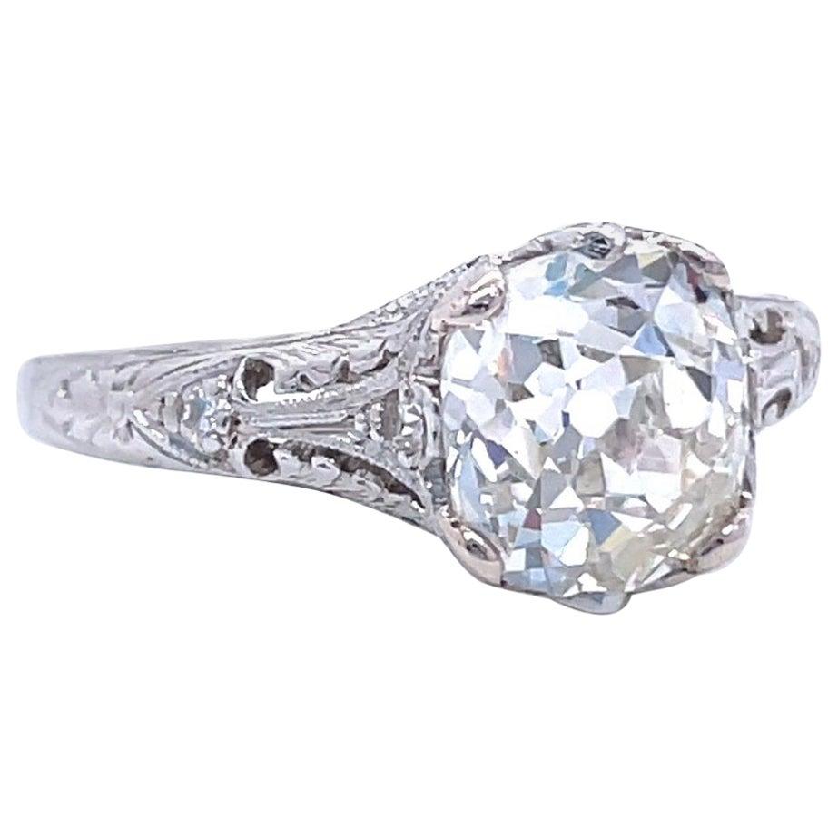 Art Deco GIA 1.81 Carat Old Mine Cut Diamond Platinum Ring