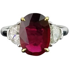 Customized 3.5 Carat No Heat Mozambique Ruby and Diamond Three-Stone Ring