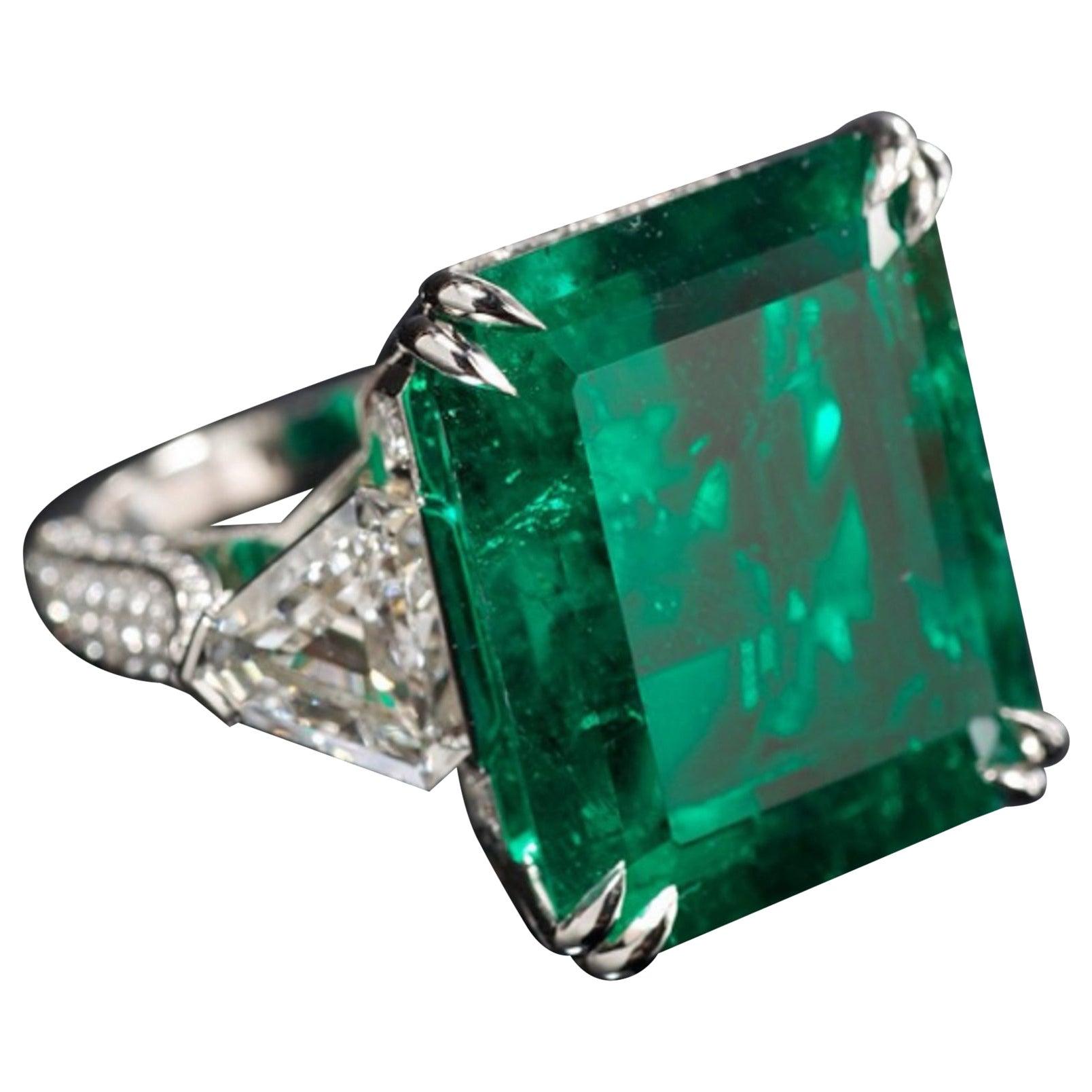 IGI Certified 7 Carat Natural Emerald Trillion Diamond