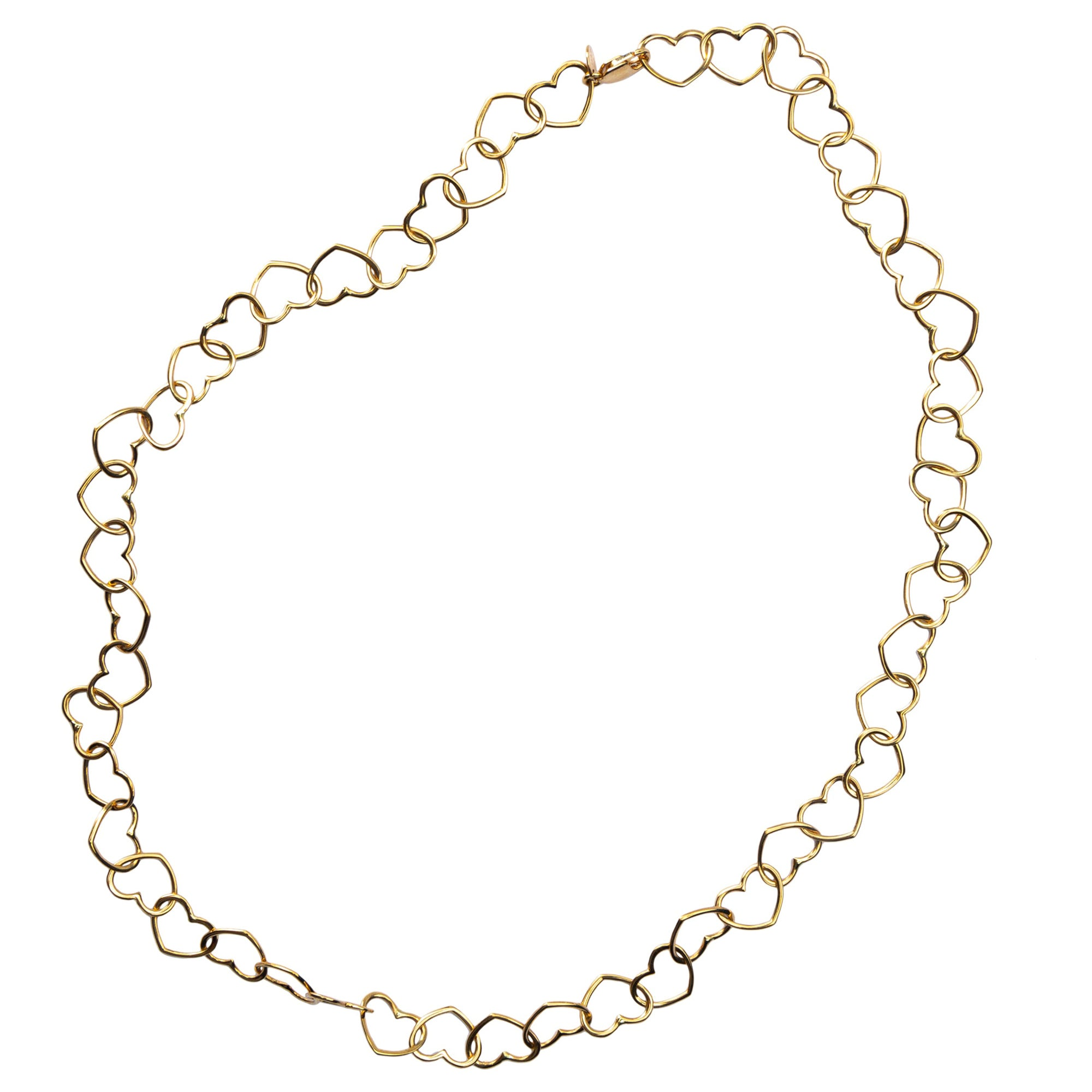 Jona 18 Karat Yellow Gold Multi Heart Link Chain Necklace