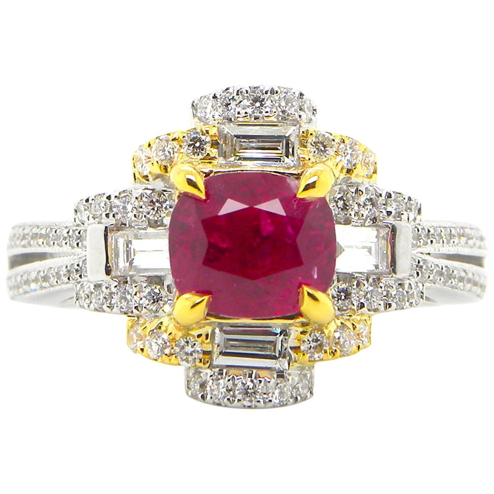 1.53 Carat GIA Certified Unheated Burmese Ruby and White Diamond Engagement Ring