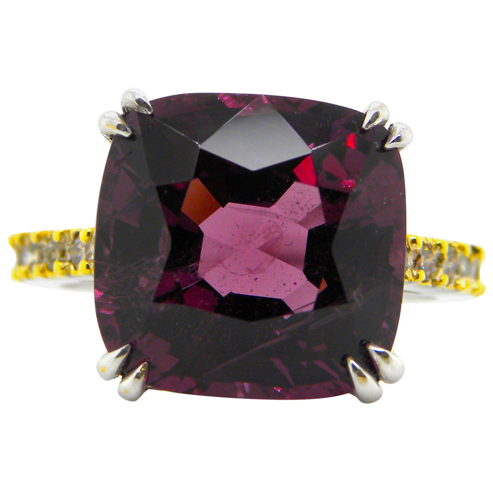 9.84 Carat Unheated Purple-Pink Burmese Spinel and Diamond Gold Engagement Ring