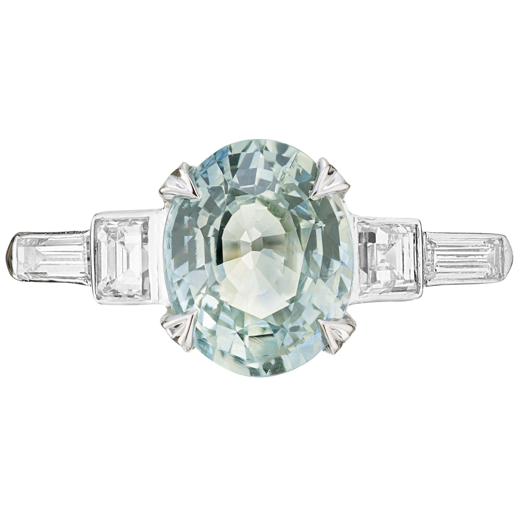 GIA Certified 2.48 Carat Sapphire Diamond Platinum Engagement Ring