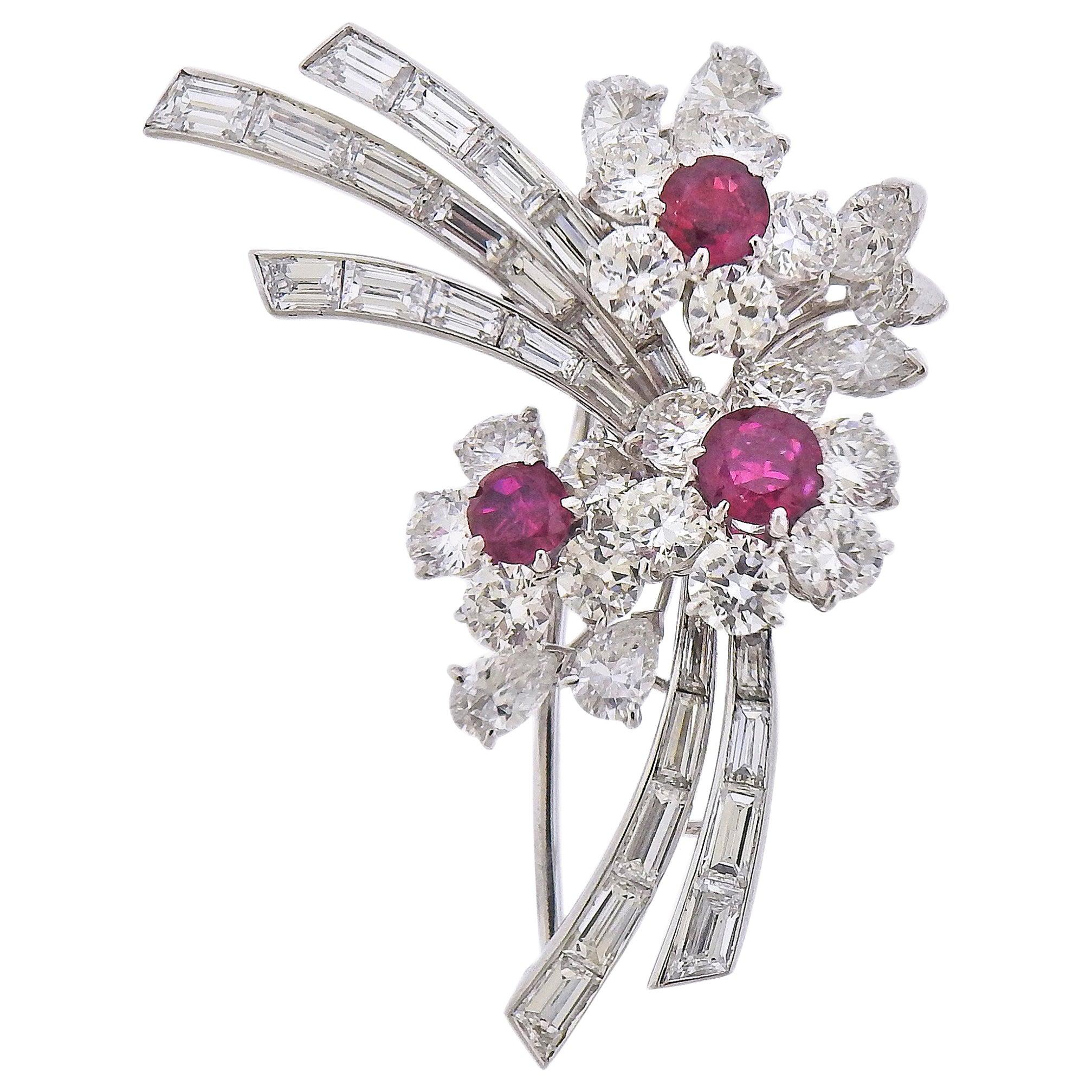 Bulgari Exquisite Ruby and Diamond Platinum Floral Brooch