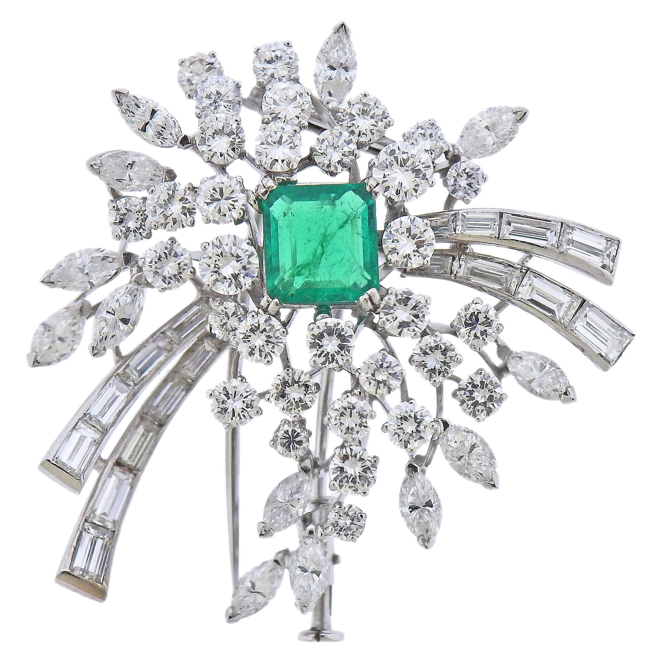 Italian Platinum Diamond Emerald Brooch