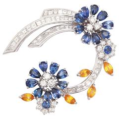 Faraone Floral Yellow and Blue Sapphire Diamond gold Clip