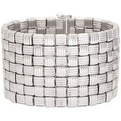 Wide White Gold Basket Weave Bracelet