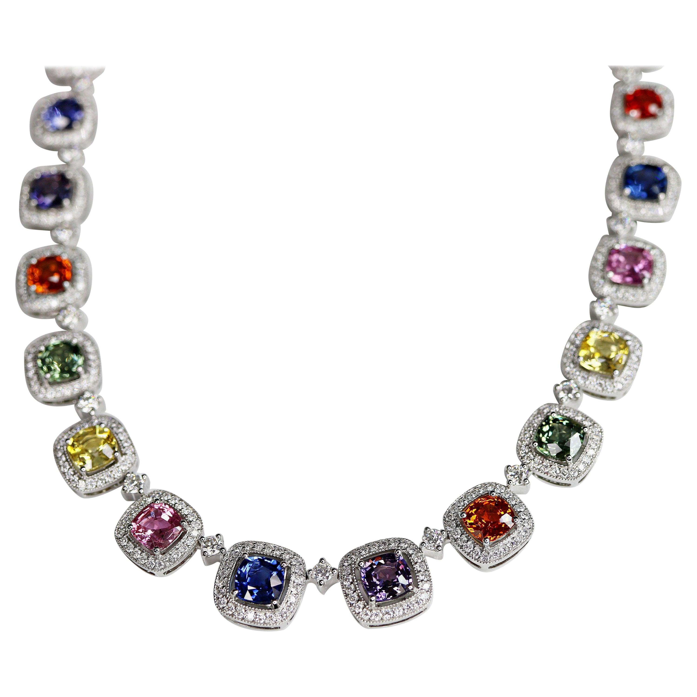 33.58 Carat Multi-Color Sapphires and Diamonds Necklace