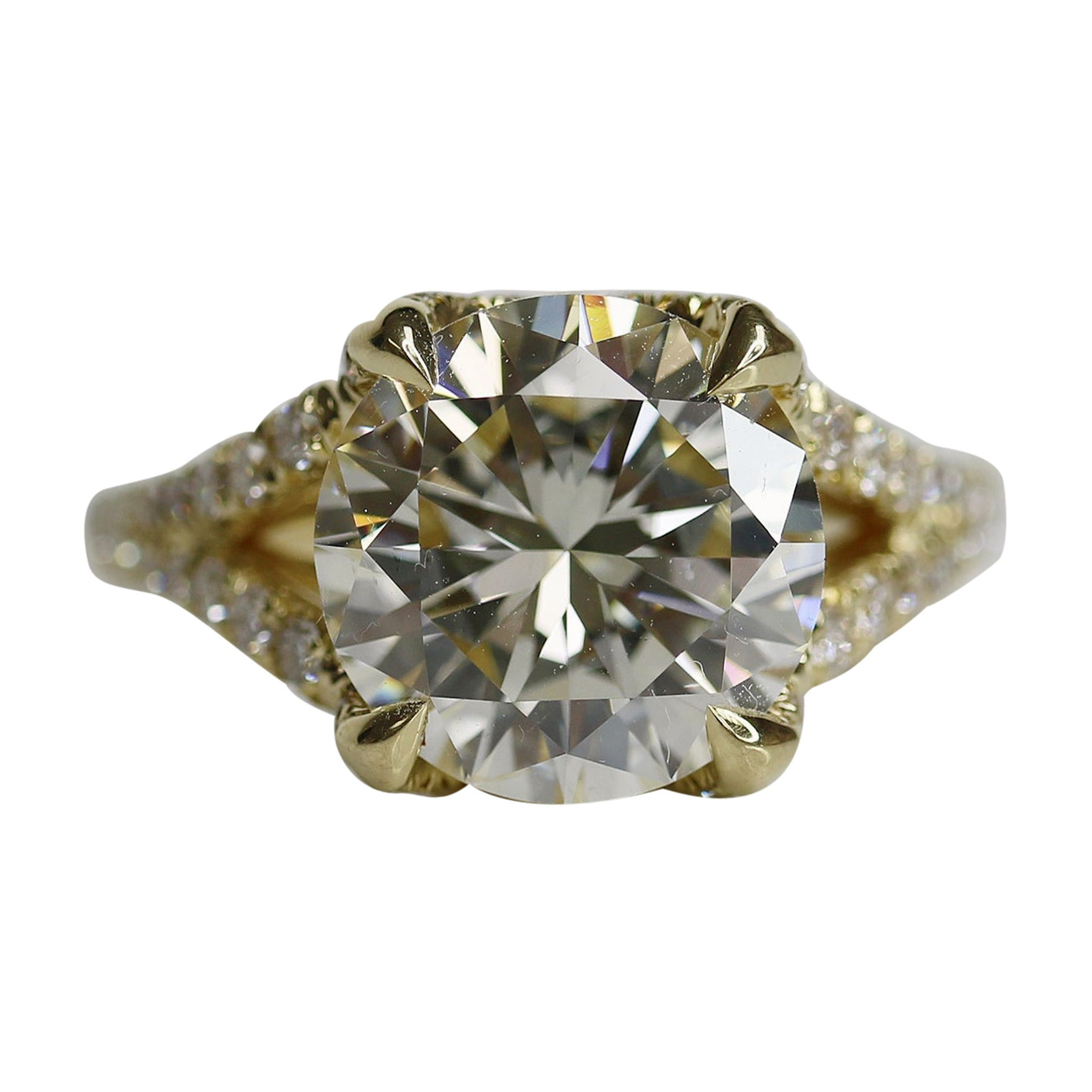 GIA Certified 3.98 Carat, Round Brilliant Diamond Halo Ring