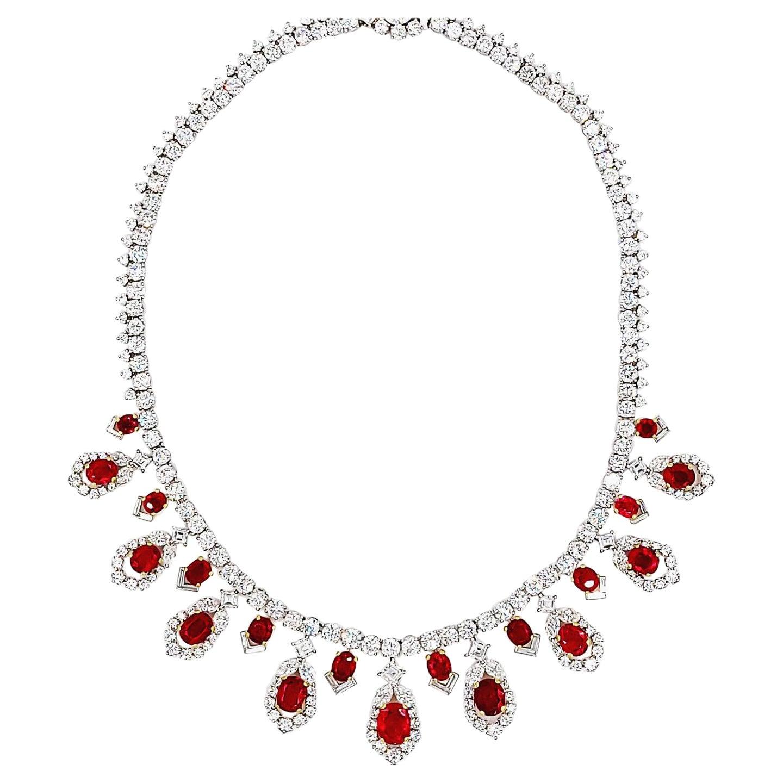Cartier AGL Certified Ruby Diamond Necklace