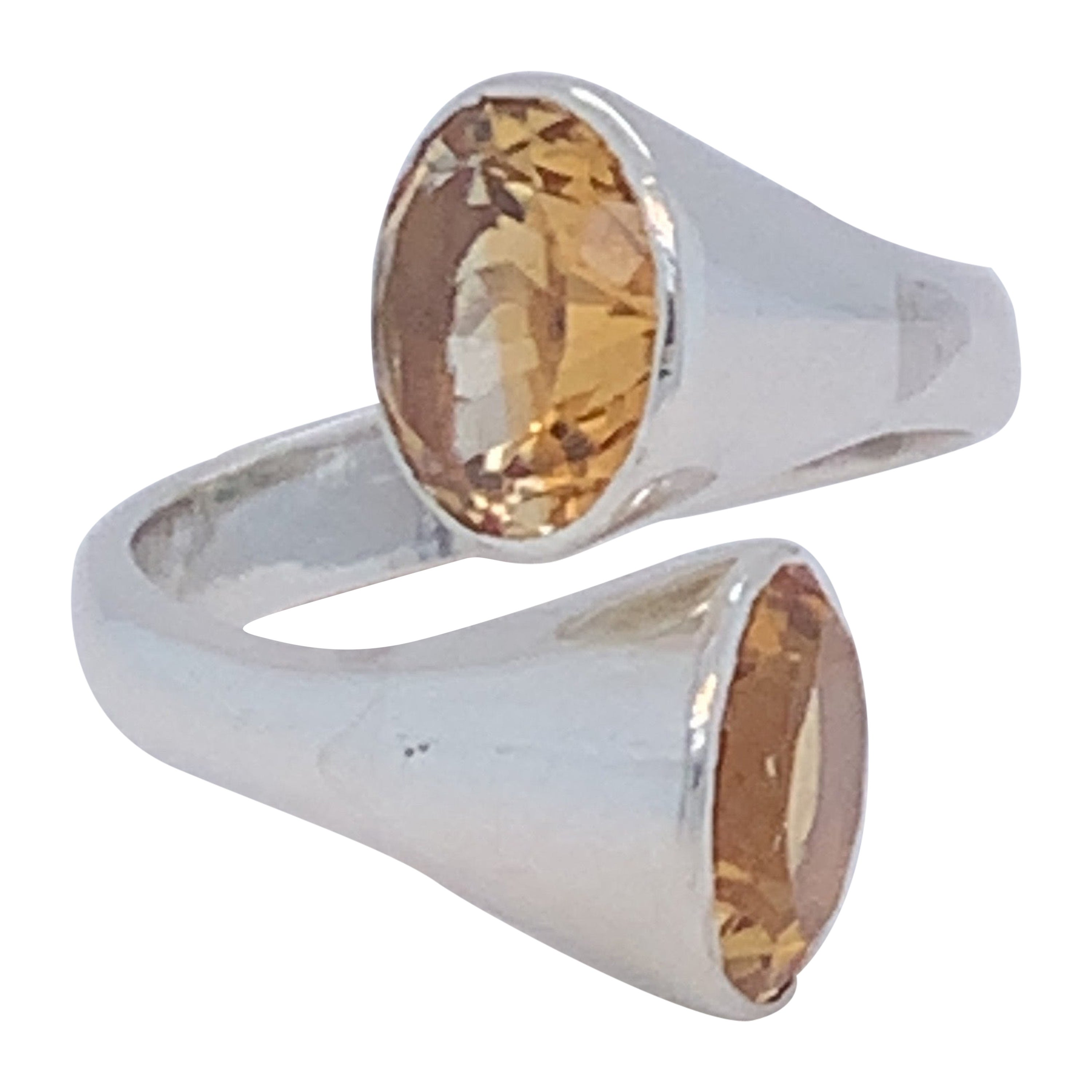 Handmade Sterling Silver Two-Stone Citrine Ring