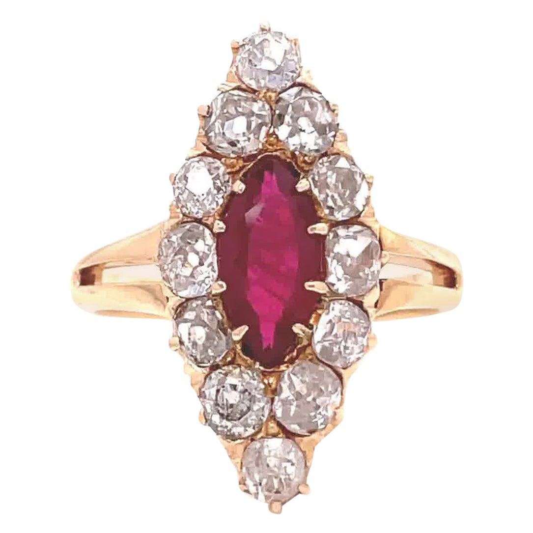 Antique Edwardian GIA Burma Ruby Diamond Cluster 18 Karat Gold Navette Ring
