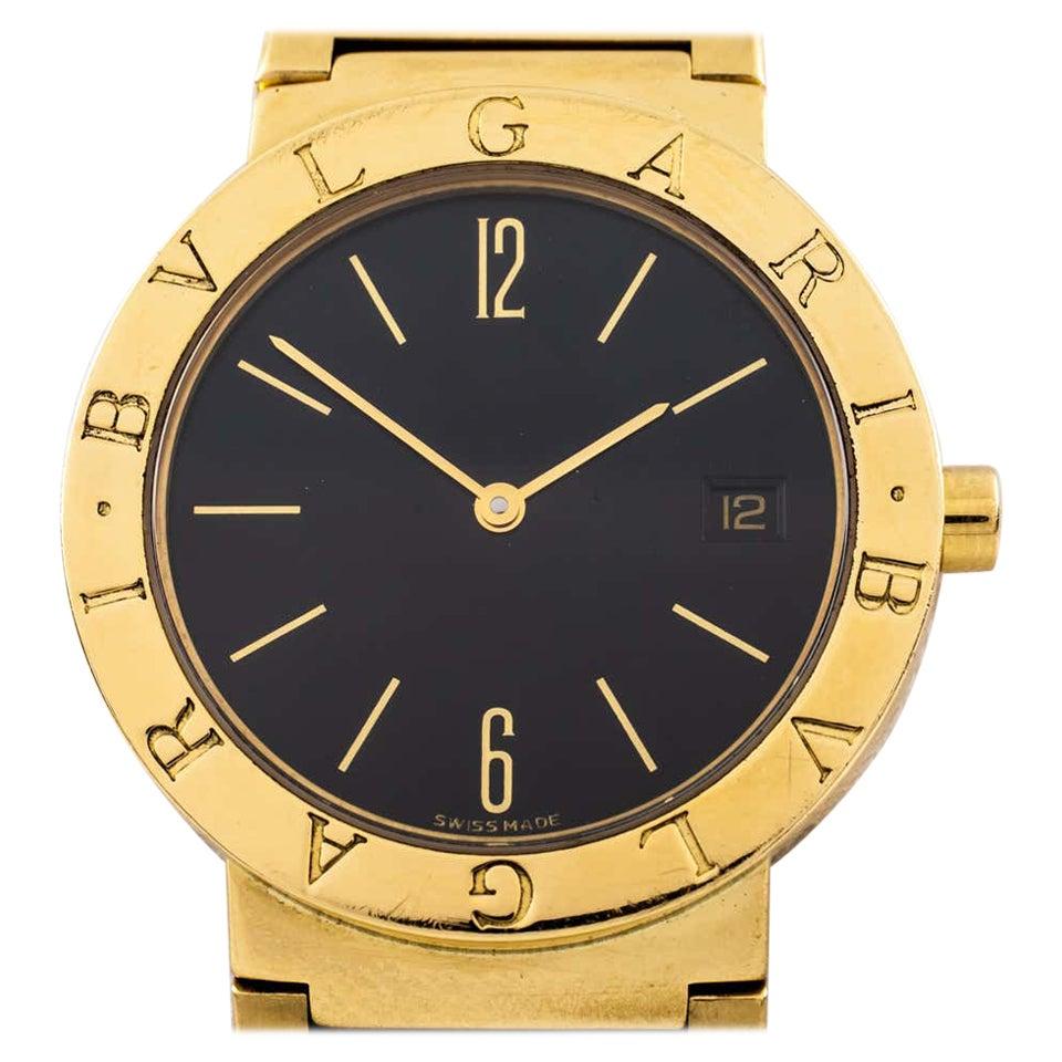 Bvlgari Bulgari Yellow Gold Watch with Black Face