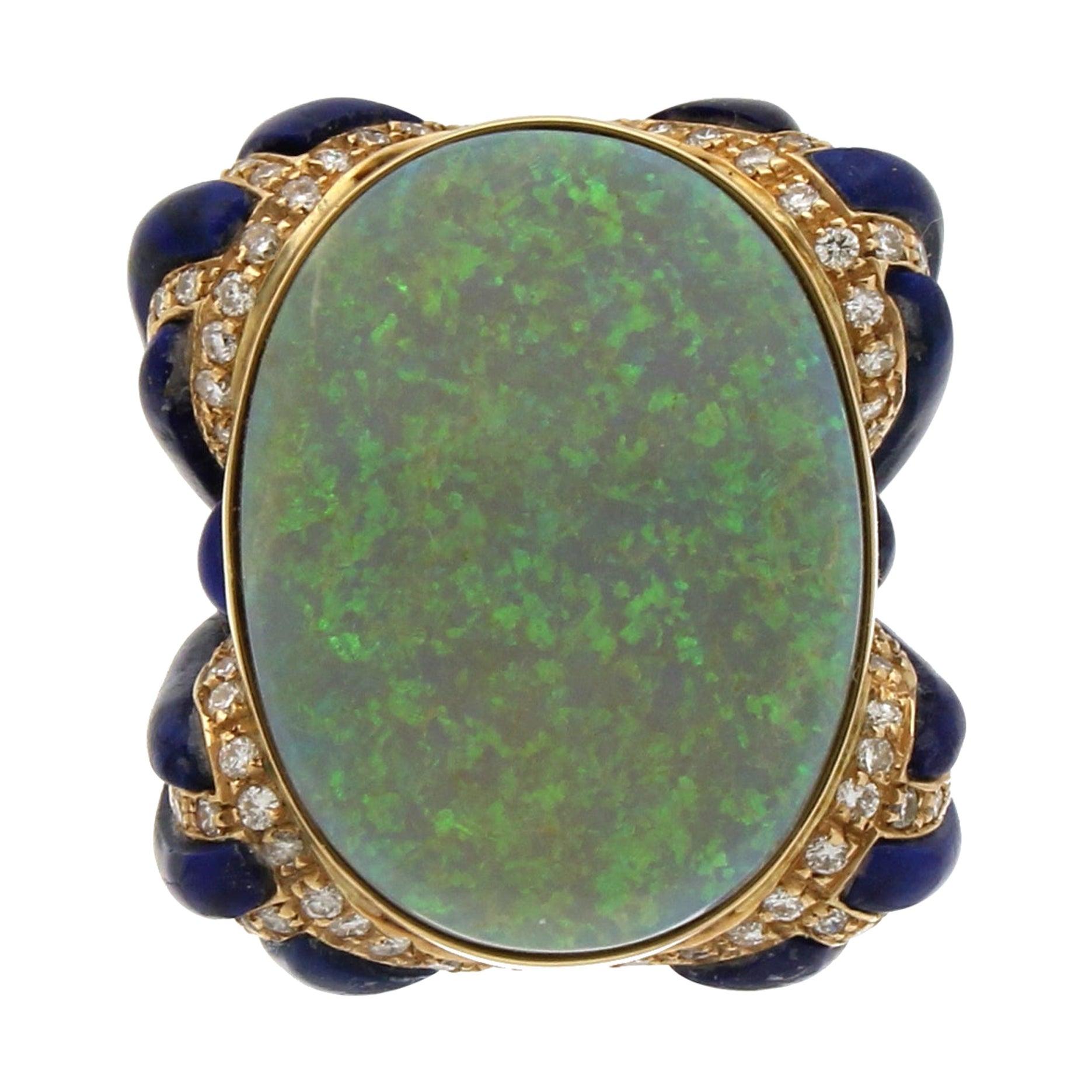 Handcraft 18 Karat Yellow Gold Diamonds Lapis Australian Opal Cocktail Ring