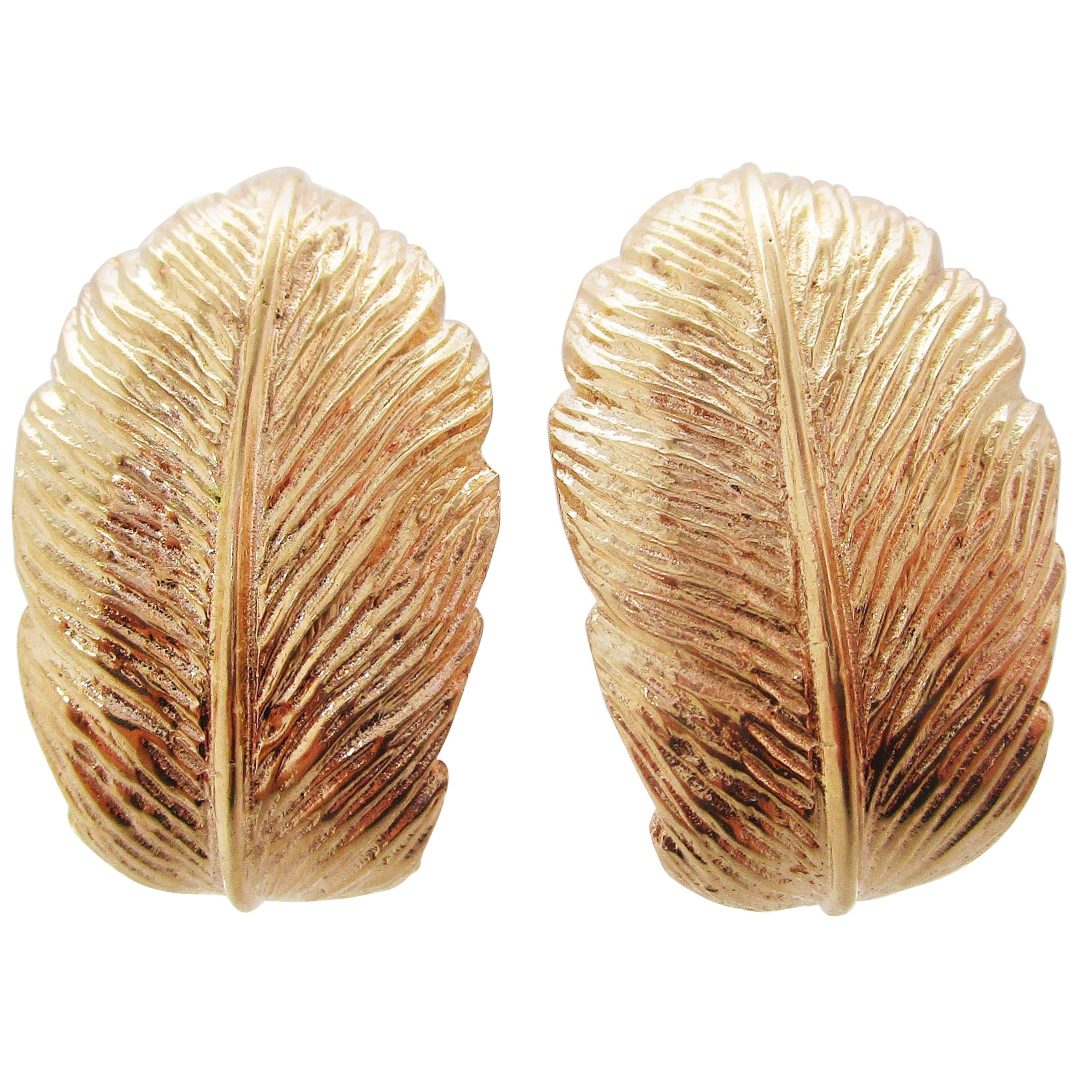 Midcentury 14 Karat Yellow Gold Feather Shaped Clip-On Earrings