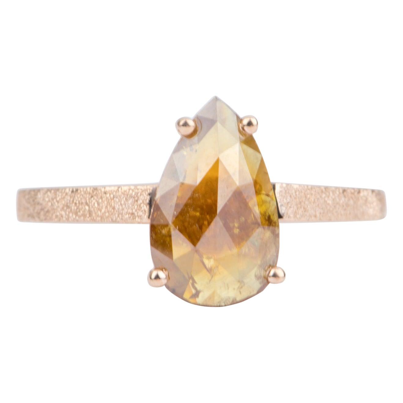 1.75 Carat Golden Brown Diamond Ring 14 Karat Rose Gold Pear Shape AD2191-1