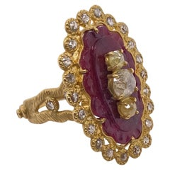 Big Carved Ruby Sunshine Gold Ring with 0.58 Carat Diamonds