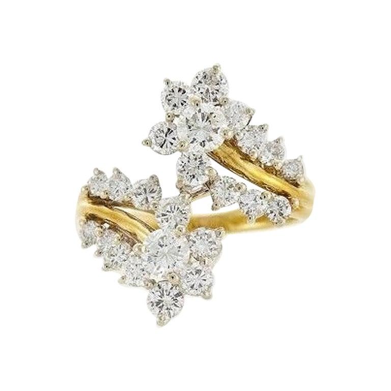 18 Karat Yellow Gold 1.85 Carat Diamond Bypass Ring