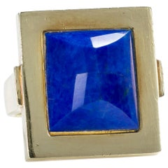 14 Karat Yellow Gold and Lapis Lazuli Square Frame Dress Ring