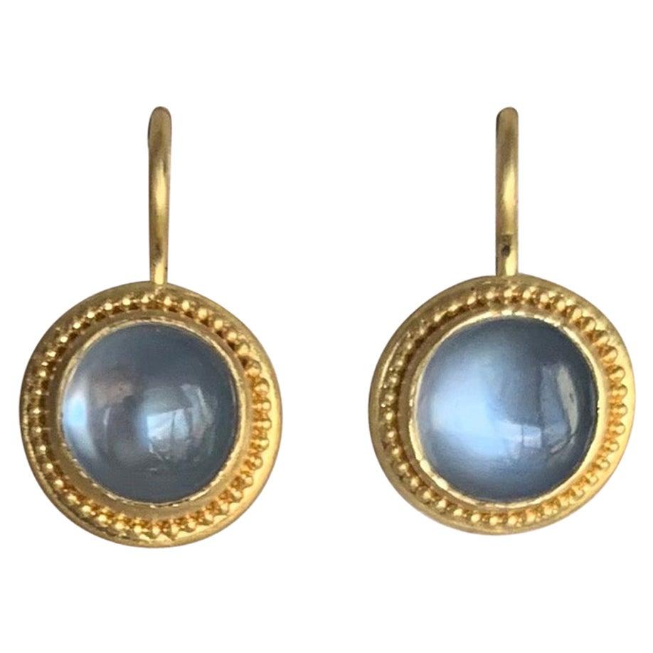 Blue Moonstone Earrings in 22 Karat Gold