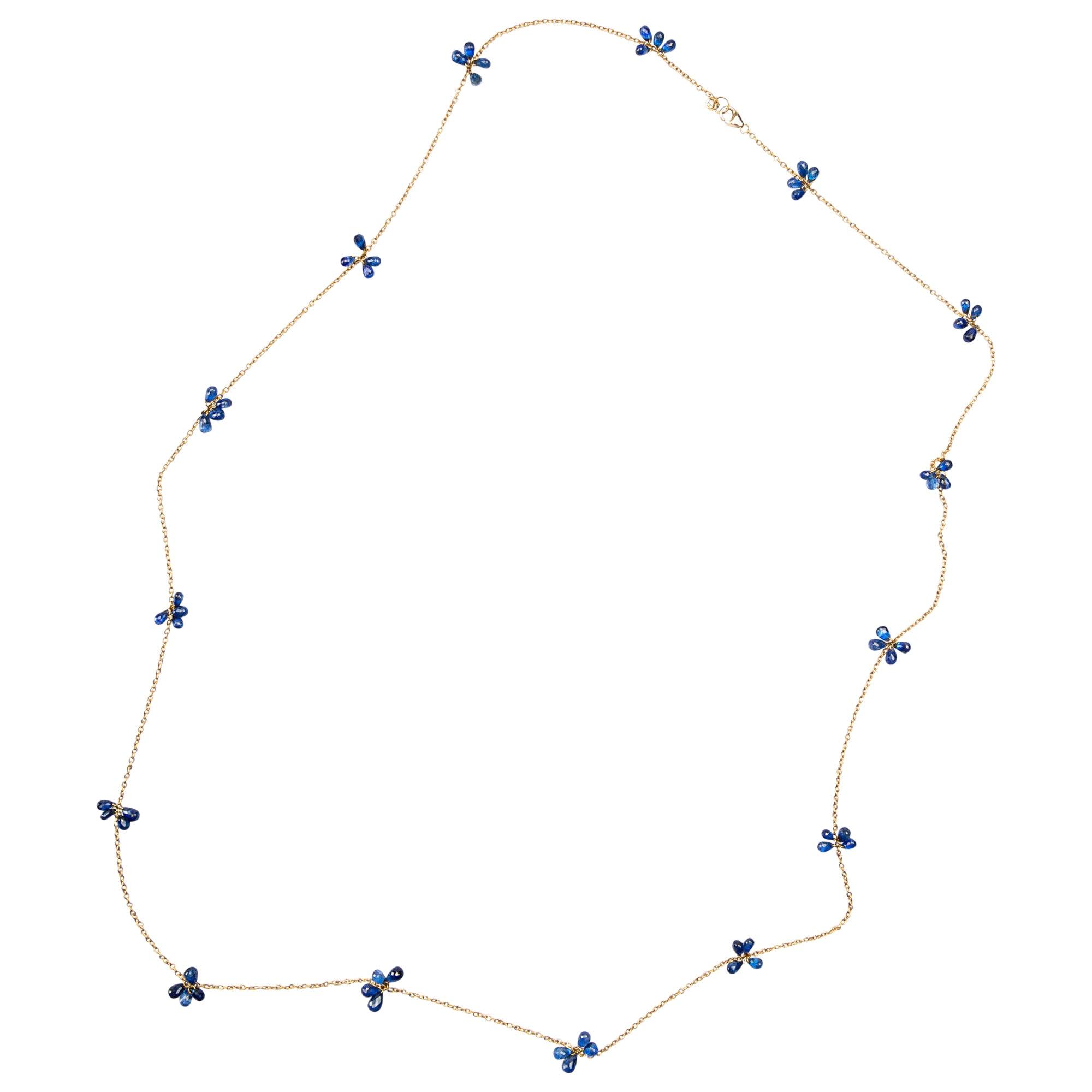 Jona Blue Sapphire 18 Karat Yellow Gold Long Chain Necklace