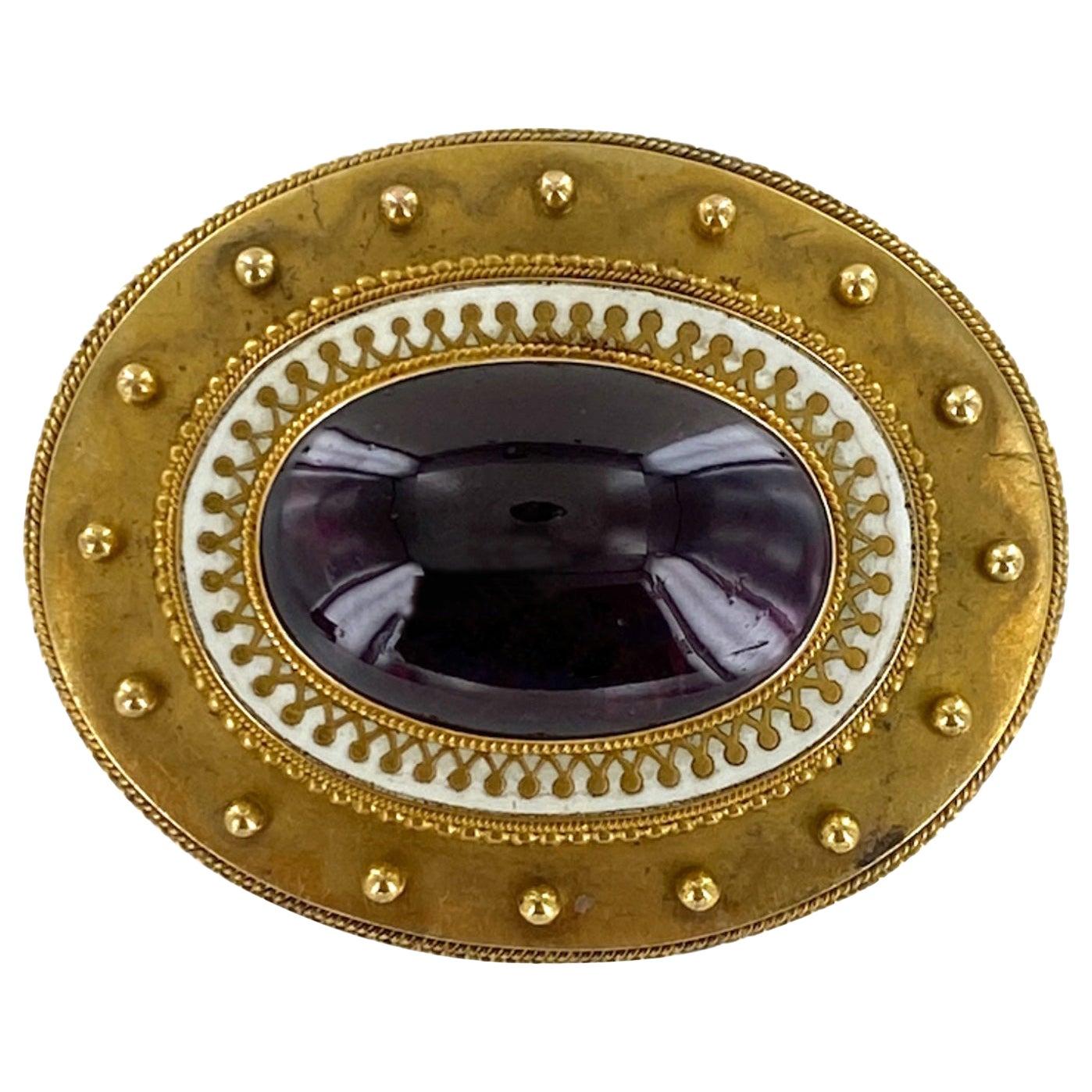 Victorian Rhodolite Garnet Enamel 18 Karat Yellow Gold Antique Brooch Pin