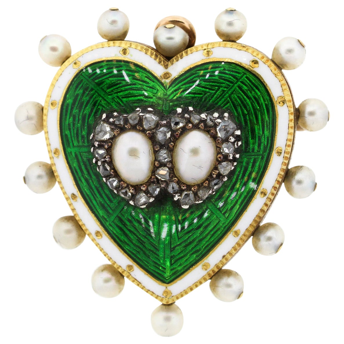 Antique 18 Karat Green and White Enamel Pearl Diamond Heart Pin Pendant